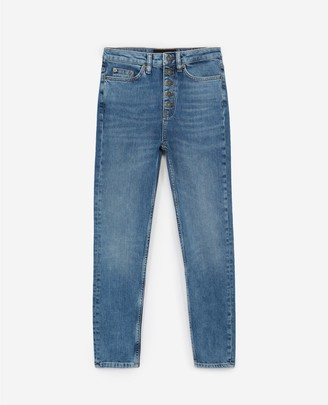 The Kooples Slim-fit vintage blue jeans w/visible buttons