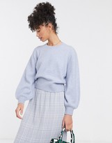 And other stories & round neck balloon-sleeve sweater in light blue