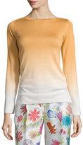 Loro Piana Barchetta Shaded Long-Sleeve Sweater, Honey Gold Fancy