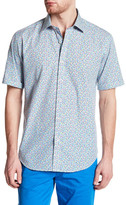 Bugatchi Woven Dot Short Sleeve Shaped Fit Shirt
