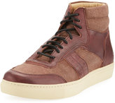Andrew Marc Concord Canvas High-Top Sneaker, Oxblood/Cream