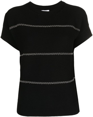Peserico Bead-Embellished Texured-Knit Top