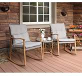 Highland Dunes 3-Piece Outdoor Patio Furniture Faux Woodgrain Rocking Chairs Warm Gray Cushions & Round Glass-Top Table Bistro Set Highland Dunes Cushion Color: Gray