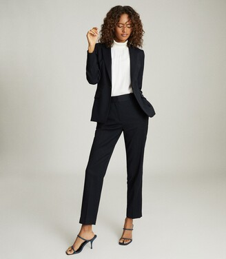 Reiss Hayes - Wool Blend Cropped Blazer in Navy