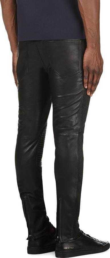 BLK DNM Black Leather Ribbed Side Biker Pants