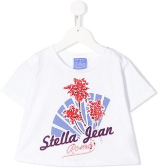 Stella Jean Kids cropped palm print T-shirt