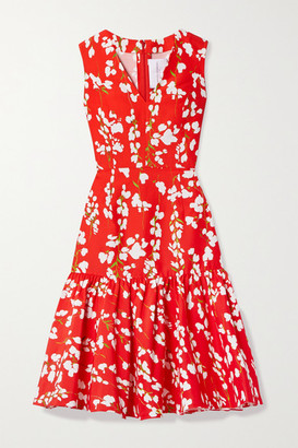 Carolina Herrera Floral-print Cotton And Silk-blend Dress - Tomato red