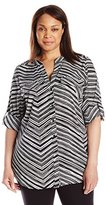 Calvin Klein Women's Plus Size Printed Roll Sleeve Blouse