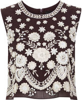 Needle & Thread Aubergine Embroidered Floral Shell Top