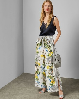 Ted Baker Royal Palm Silk Wide Leg Trousers