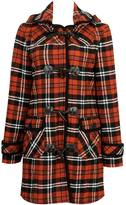 Forever 21 Hooded Plaid Wool Toggle Coat