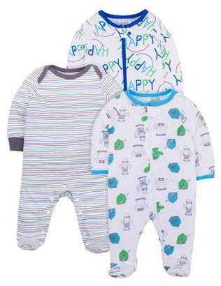 N. Little Star Organic Unisex Baby Sleep 'N Play Pajamas, 3-Pack