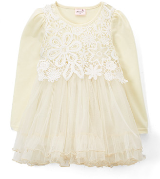 Wenchoice Girls' Special Occasion Dresses IVORY - Ivory Lace Long-Sleeve A-Line Dress - Infant & Toddler