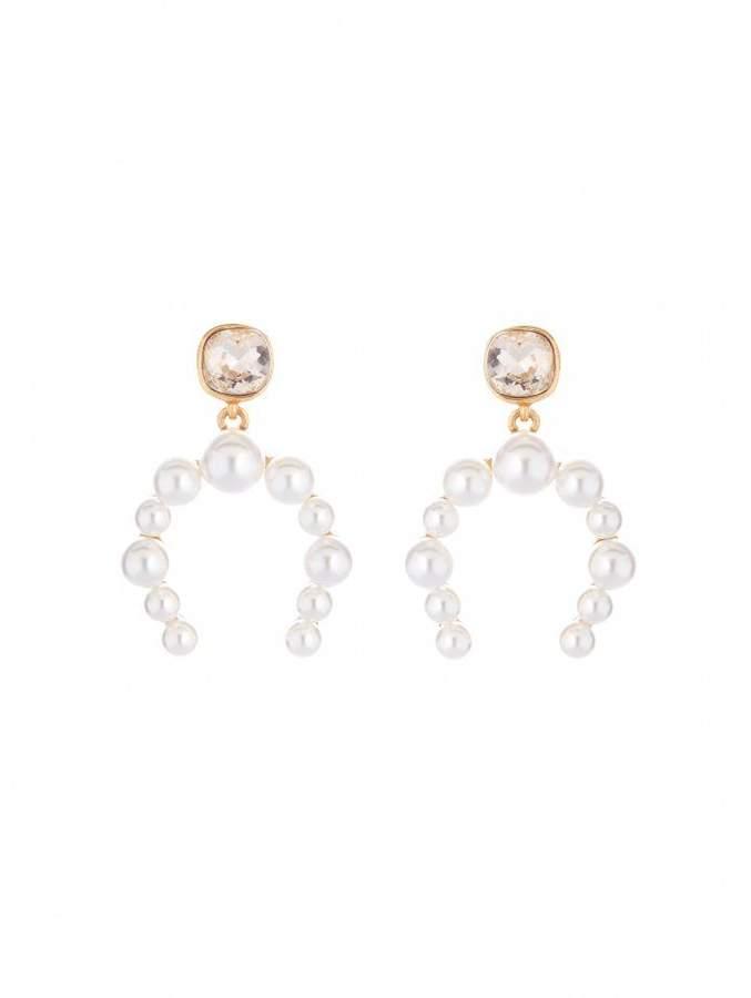 d520c3d792636 Crystal and Pearl Half Hoop Earrings