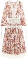 Zimmermann Good Times Lace-trimmed Printed Silk-chiffon Dress - White