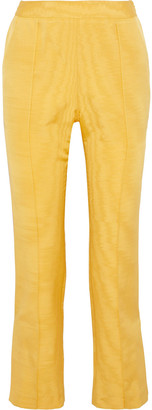 Rosie Assoulin Oboe Cropped Silk And Wool-blend Moire Straight-leg Pants