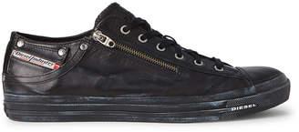 Diesel Black Expo-Zip Leather Low-Top Sneakers