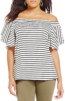 Gibson & Latimer Striped Off the Shoulder Knit Top