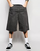 Asos Denim Shorts In Wide Leg In Mid Grey