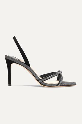 Sophia Webster Giovanna Crystal-embellished Glittered Suede Slingback Sandals - Black