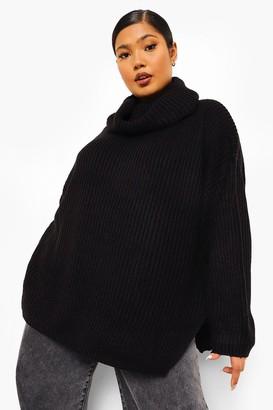 boohoo Plus Rib Knit Wide Sleeve Turn Up Cuff Jumper