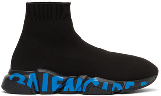 Balenciaga Black and Blue Graffitti Sole Speed High-Top Sneakers