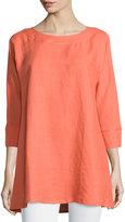 Neiman Marcus Charlotte Linen Tunic, Pink Peony