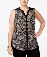 INC International Concepts Plus Size Printed Split-Neck Shell, Only at Macy's