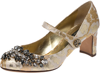 Dolce & Gabbana White/Gold Brocade Fabric Crystal Embellished Mary Jane Pumps Size 37