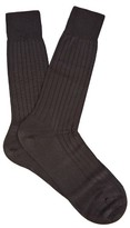 Pantherella Asberley ribbed silk-blend socks