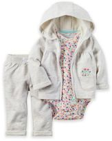 Carter's 3-Piece Hoodie, Floral Bodysuit, and Pant Set in Grey/Multicolor