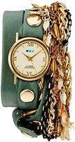 La Mer Women's Quartz Gold-Tone and Leather Automatic Watch, Multi Color (Model: LMMULTI2016312)
