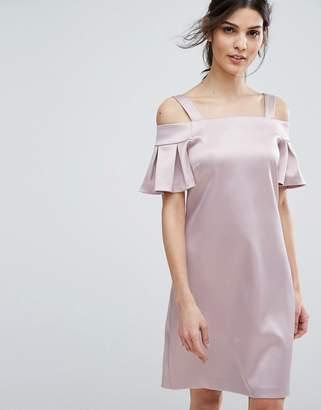 Closet London Cold Shoulder Mini Dress-Pink