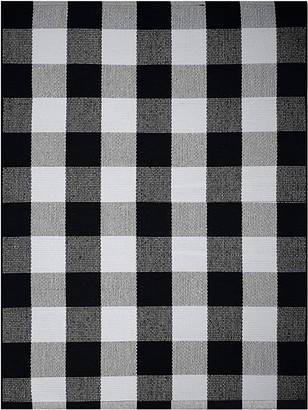 Farmhouse Buffalo Check Plaid Rug: 36x48 Large Black and White Outdoor Rug | Buffalo Plaid Front Door Mat | Front Porch Rug | Outside Rugs Best Layered Under Welcome Doormat | Farmhouse Kitchen Rugs