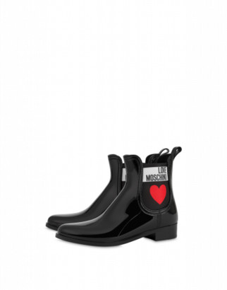 Love Moschino Pvc Rain Boots With Heart Woman Black Size 35 It - (5 Us)