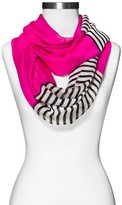 Xhilaration Women's Solid and Striped Infinity Scarf Hot Pink