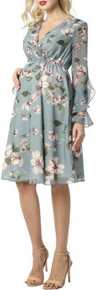 Kimi and Kai Floral Print Long Sleeve Chiffon Maternity Dress