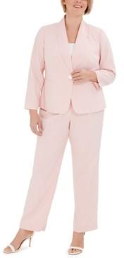 Le Suit Plus Size Striped One-Button Jacket and Pant Suit