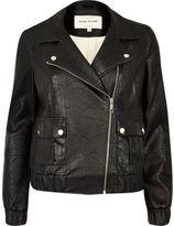 River Island Womens Black textured leather look biker bomber