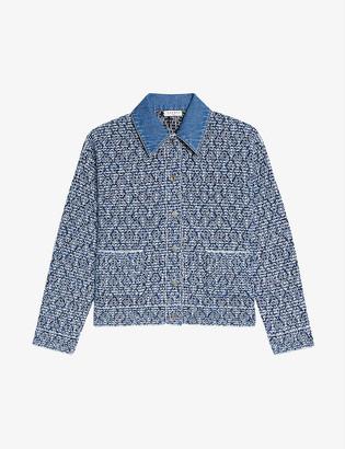 Sandro Jeny knitted and stretch-denim jacket