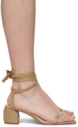 Tibi Beige Leather Shyah Sandals