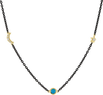 Monica Rich Kosann Turquoise Sun Moon Star Wrap Necklace