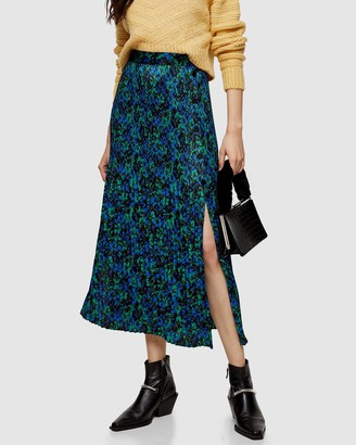 Topshop Floral Pleated Popper Midi Skirt