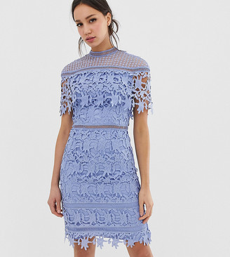 Chi Chi London Tall lace high neck mini dress in cornflower blue