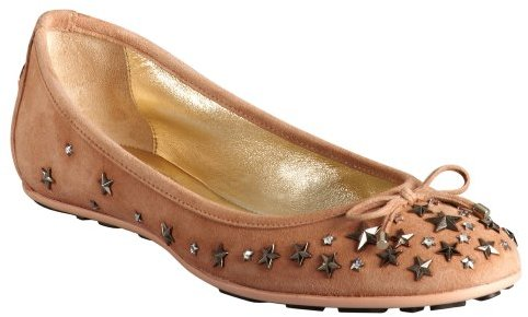 Jimmy Choo blush suede star studded crystal 'Willow' ballet flats
