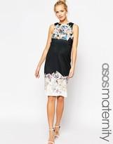 Asos Asymmetric Scuba Body-Conscious Dress With Spliced Print