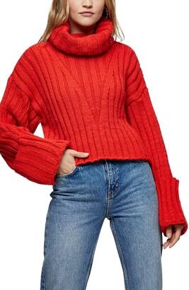 Topshop Turnback Cuff Turtleneck Sweater