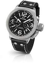 TW Steel CS4 Men's Stainless Steel Canteen Black Leather Band Black Dial Watch by