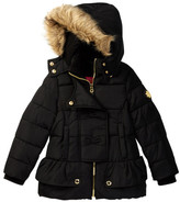 Catherine Malandrino Faux Fur Trimmed Hooded Peplum Bubble Jacket (Little Girls)