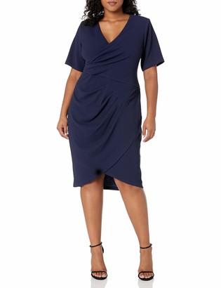 Adrianna Papell Women's Plus Size Sleeveless Sheath Dress with Draped Details